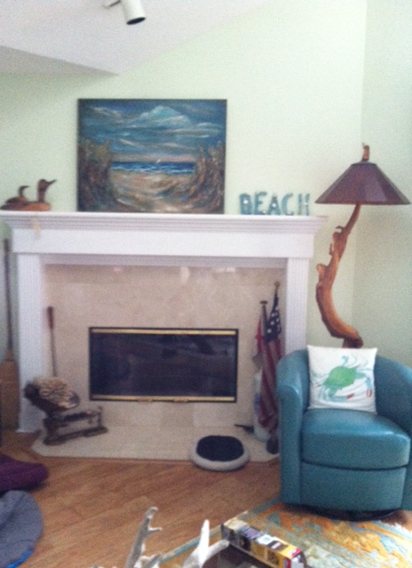 RJ Rementer sent me this photo of my painting hanging on her wall. I think it looks great with her decor.