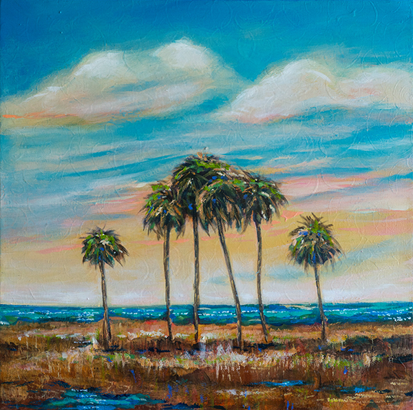 """Six Palms"" is a thick gallery wrap, acrylic , 18x18"". It has a calm feeling for me."