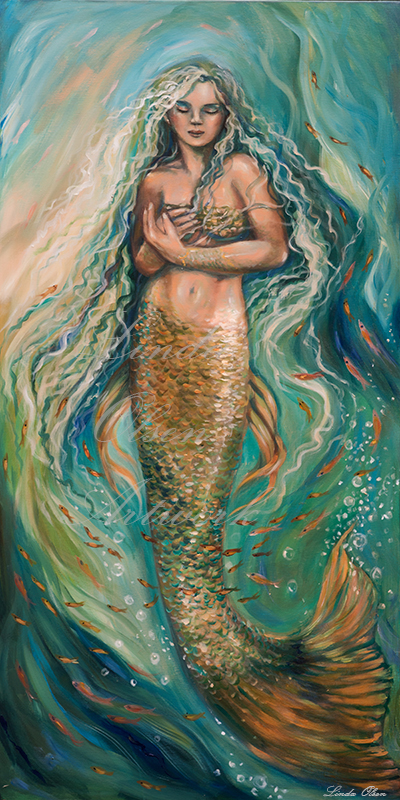 """Slumbering Siren"" is a 24x48 gallery wrap. You can see by the previous posts that various ideas were worked out."