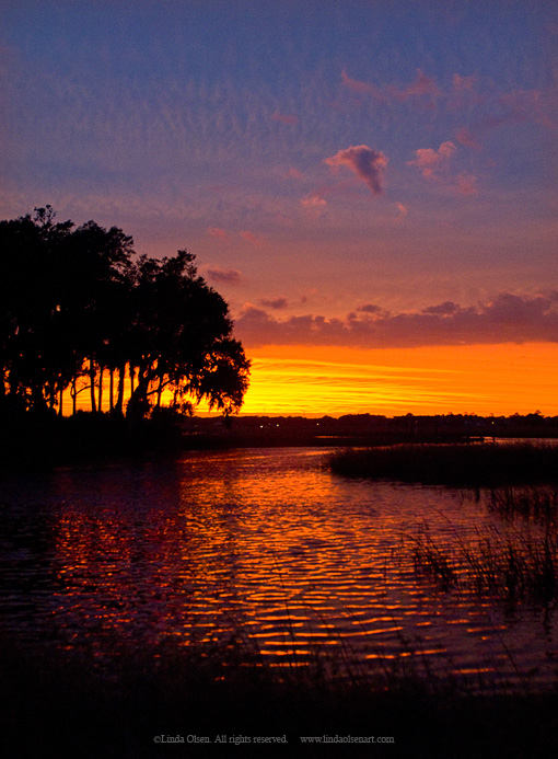 Photo enhanced of one of my favorite places to view the sunset over the intercoastal river.