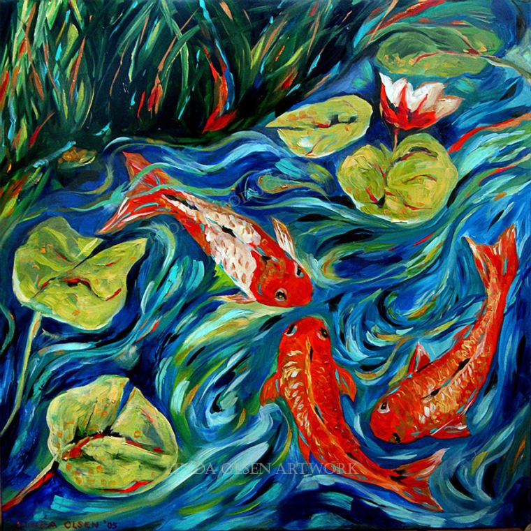 Three Koi 24x24
