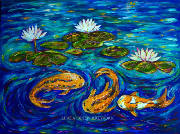 Three Koi and lilies30x40