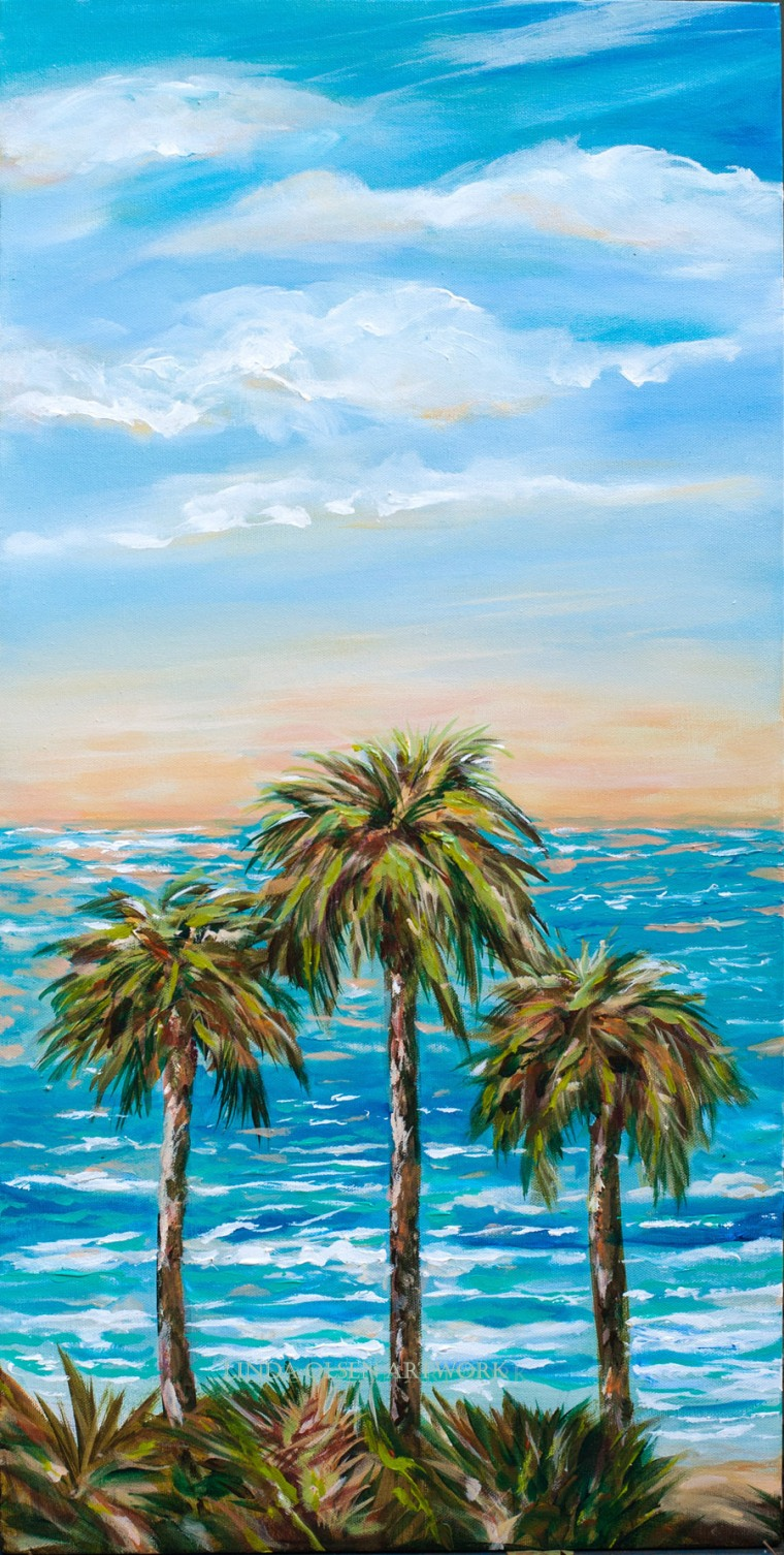 """View from the Hill"" is about surfers watching the surf sets roll in from a higher vantage point on a tropical island. It is 15 x 30 x 2"" and is an acrylic original."