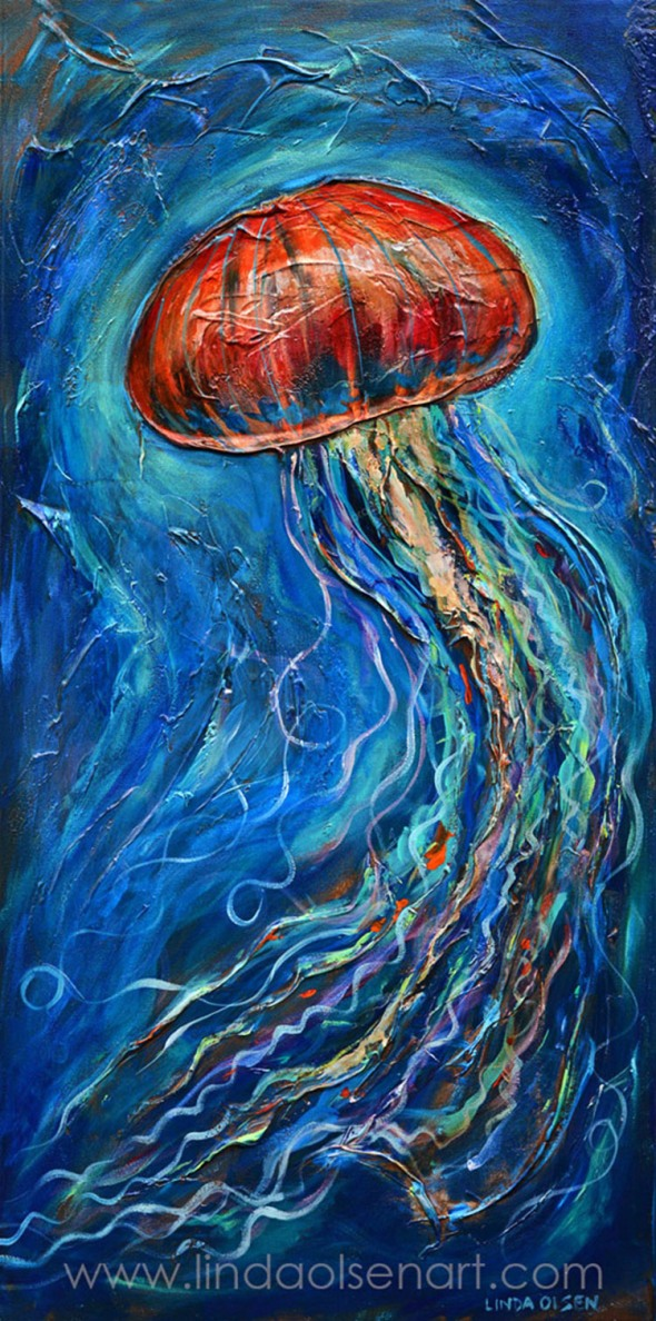 Acrylic paintings linda olsen 39 s art blog for Jelly fish painting