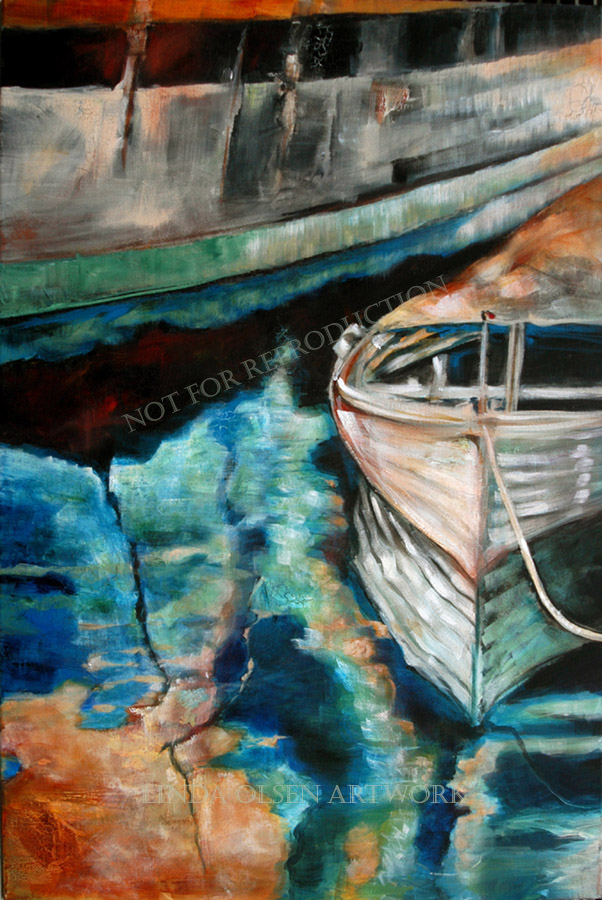 "I photographed this scene years ago of the dinghy next to the Bounty while it was docked in San Diego after filming the Mutiny on the Bounty movie with Russell Crowe. Then I painted it from my photograph. Debbie McGreedy will be hanging this in her home. Thank you so much Debbie! ""Master and Commander"" 24x36""."
