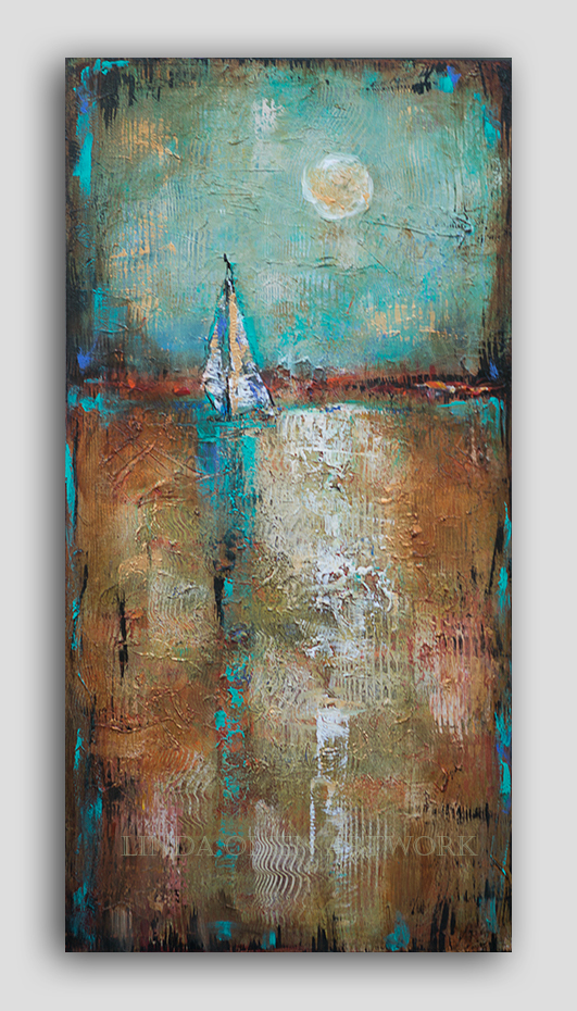 """Sailing in the Midday Sun"" is 18x36 and was started a few years ago and was quite different. while I was painting the previous posted painting, I added the sailboat which pulled it together. Even though it is an abstract painting, I like the elements of theme and objects. It reminds me of my past sailing off the coast of California."