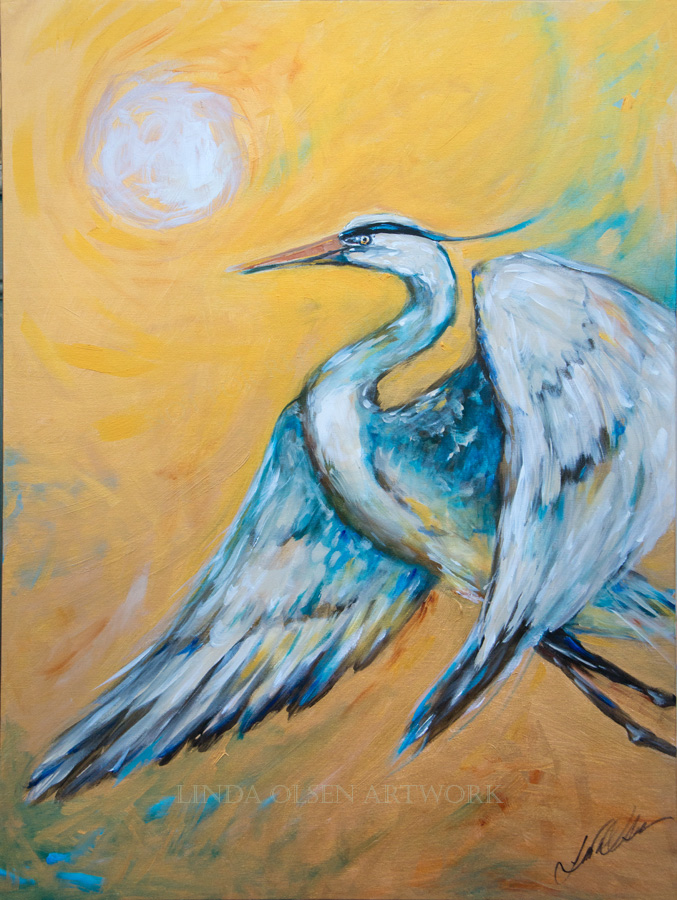 """Taking Flight"" is 30x40 with most of the background done in metallic golds. Looking at it in real life is interesting because it shimmers in the light. I painted this in a day while construction was going on to the side of my house. I was trying to escape or take flight form the noise."