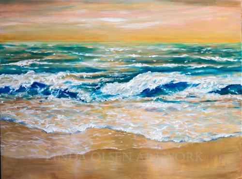 "This new 40x30"" surf painting was just completed. I wish you could see the painting in person since photography doesn't show the metallic liquid gold leaf underpainting effects. It shimmers and changes with the light of day and also when viewed from different angles. I do have a client interested in it for over her fireplace but it may be too large. It is called ""Surf in a Golden Light""."