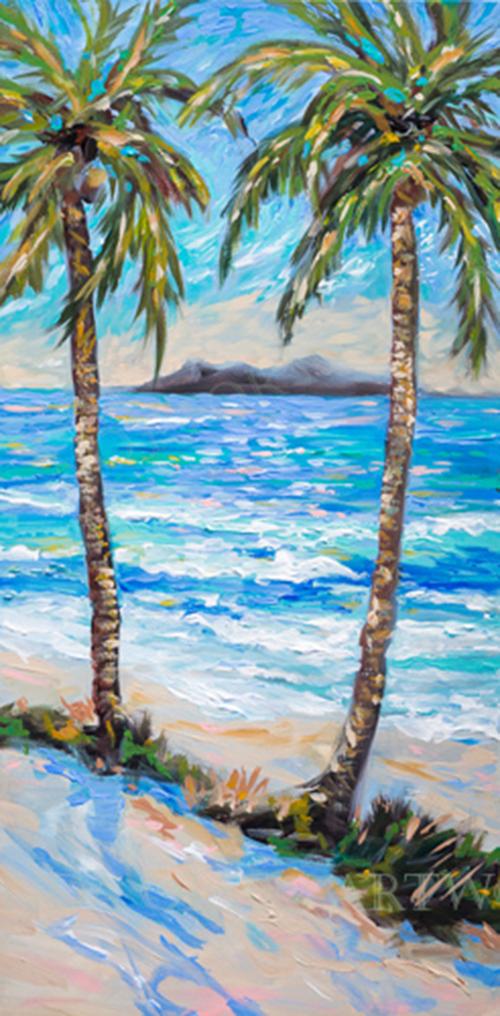 Two Island Palms 18x36