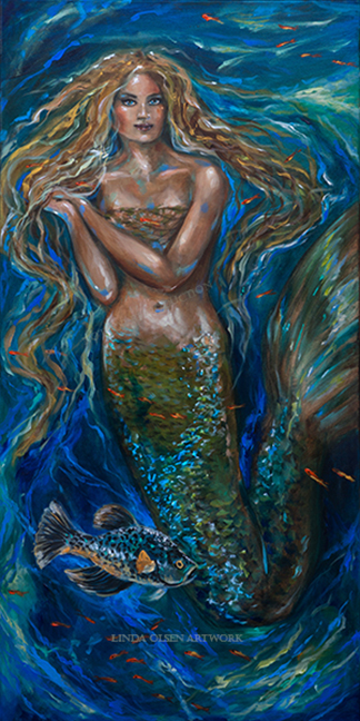 Blue Water Mermaid 24x48x