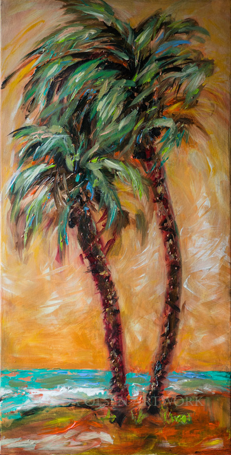 """Palms in the Breeze"" is 18x36 gallery wrap so no framing is needed. It is rather abstract with a lot of energy and swag. It may look great on YOUR wall?"