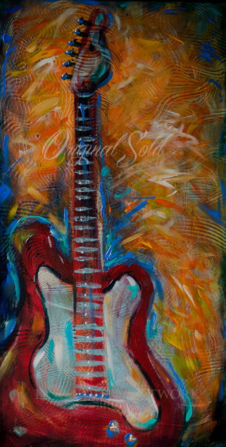 """Red Guitar"" is 18x36"" and was originally painting for my adult son's birthday since he is a great guitarist and owns many very nice guitars, acoustic and electric. However, last night I sold the painting to a local fan of my artwork. My son picked out another painting for his birthday and also told me that my art was well represented in his home now. I had thought that something handmade was a better present than a shirt."