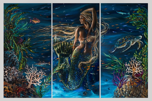 """Bella Donna"" is three panels of 24x48"" gallery wrap canvases that would hang an inch from each other and cover 75x48"" space. I wanted to portray an underwater siren with the lighting I have seen while diving. The reflection on the bottom of the sandy bottom reflect up onto the mermaid and sea creatures. I started with black canvases and painted the ocean water with teal and blue sheer metallic paints so its quite a dark painting...just like it would be under the sea."