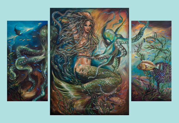 "Denise and Sean Hotchkiss purchased the large mermaid painting called ""Entangled"" but wanted to put it on a very tall 2 story wall in their den. So they commissioned me to add on to the scene with two side panels. I added a sting raw and the other parts of two large octopus, additional fish and kelp. Tomorrow the varnish goes on and then install next week."