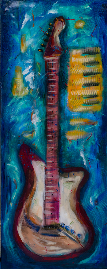 """This 16x40"""" gallery wrap called """"Guitar and Keys"""" got a nice coating of thick clear epoxy resin. It is available for sale. I wish you could see this in real life since the epoxy gives an incredible surface which is difficult to portray because of the shine."""