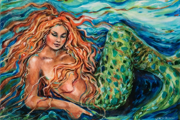 Ana from California fell in love with one of my mermaid paintings but the original had been sold. She also wanted to have me add sea glass and shells to the canvas. I had a printer print the canvas and back it with a hardboard. This way I could glue the glass and shells on it without them coming off later. Then I prepared some thick epoxy resin to coat the entire surface which also acted as a bounding agent for the 3 dimensional objects. Its quite a process to work with epoxy. You have to raise the painting off a surface to catch the dripping epoxy and be able to scrape the edges.  A heat gun is also necessary to remove bubbles after pouring the prepared epoxy. It took two more days to set up and harden but looks gorgeous! Very shiney!