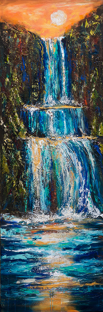"I really enjoyed working on this painting which I started after I completed the commission for Vicki of an abstract waterfall. I was inspired to explore more possibilities. This is 20x60"" with lots of texture. I started with a quality gallery wrap canvas and sketched the basic nature scene with a waterfall as central element. Then I put flexible modeling paste with various knives. I kept with the drawing so the details became sculptural. Then I added orange paint to white gesso and coated the plaster and canvas so I had a totally orange surface. After couple more days of drying, I was able to start painting with huge brushes and knives. It evolved daily for another week. I am just about to put the final varnish on it."