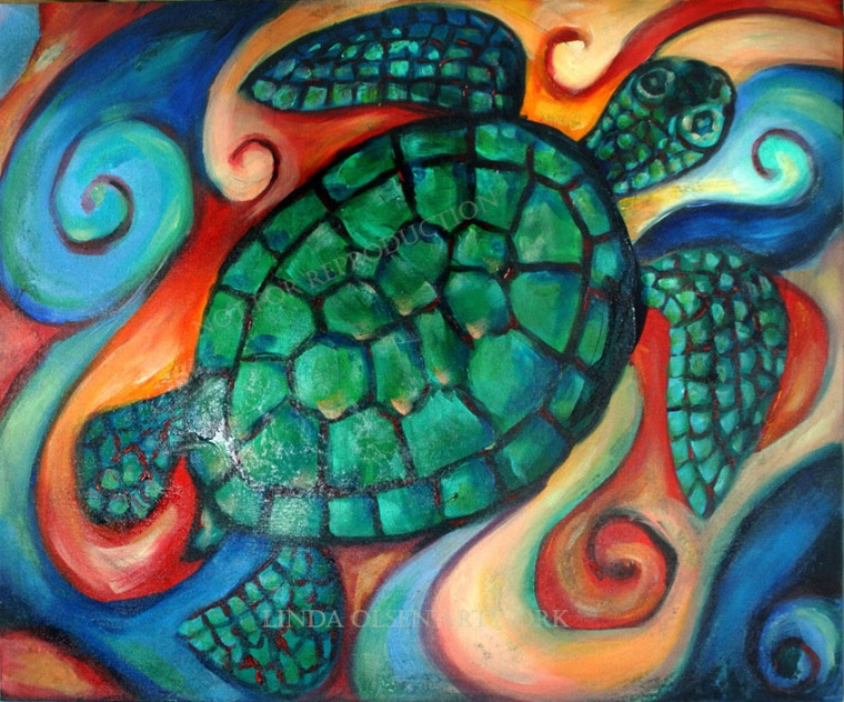 Windowpane Sea Turtle20x24
