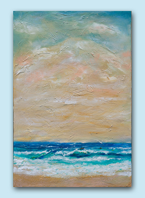 """""""Beach Day"""" is 24x36 and was inspired by the colors of the beach in Jamaica and the textures of the sand. I was drawn to the simplicity of the scene. There are two surfers waiting for a nice set."""