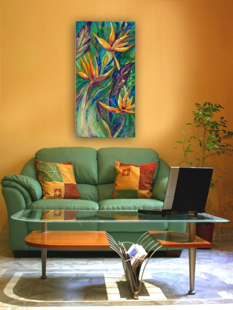 "I have two Bird of Paradise paintings on special. The green one called ""Bird of Paradise"" is 10x30"" thick gallery wrap and is on sale for $245.00. The larger ""Birds of Paradise"" is 18x36 thick gallery wrap and I have it reduced to $375.00. I will be posting paintings in the next few weeks that have not been seen because they have been in storage. I am just too prolific I supposed so I would love to find homes for these."