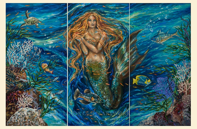 """Coral Reef Rhapsody"" is 72 x 48"" and in three panels. As I have been painting this for several months on and off, a rather rhymic flow of the water and seaweeds appeared. When I am painting an underwater scene, it is a tedious process and even though I have a sketch that I drew first on paper, as I paint on the canvas, the little surprises occur along with the creative process. It appears to me that the coral and fish are swimming and flowing to music."