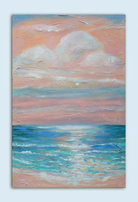 "While in vacation in Negril, Jamaica, I wanted to remember how calm and pastel some of the mornings were. The moon rose higher and higher into the pastel clouds. This painting ""Jamaican Sunrise"" is 24x36."