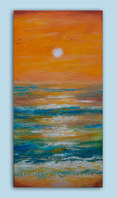 """Orange Sky"" is 15 x 30"" gallery wrap and was inspired by a recent sunset I watched while vacationing in Jamaica. I was going to add a swimmer or fishing boat but upon reflecting, I preferred the simplicity of the beach scape."