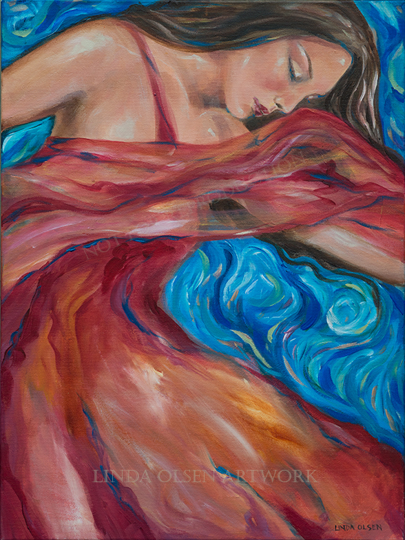 """Red Scarf"" is an older painting that I touched up. Its on sale so inquire. 18x24""."