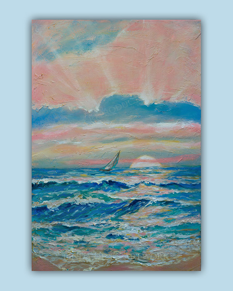 """Sun Rays"" is 24x36 acrylic gallery wrap in a series of semi abstract ocean landscapes. They are textural and I wanted to portray the colors of sunsets that are not intense. Sometimes they are pastel."