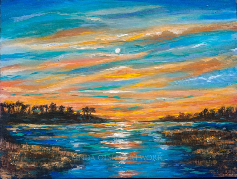 Sunset on the Waterway 24x18 on sale