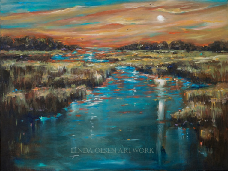 "I live on an island peninsula in a little town called Neptune Beach. To the west is the intercoastal waterway and a view of sunsets. The peaceful scene of the marsh grasses and water are so enchanting. Over the years I have tried to capture this and think I have made some breakthroughs in technique. This painting ""Waterway Sunset"" is 40x30""."