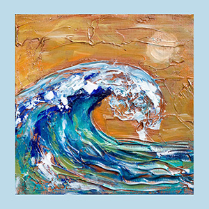 Wave orange sky 8x8 sold