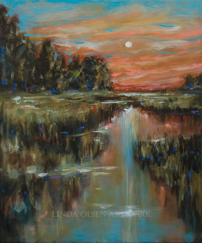 """Evening Landscape"" is 20 x 24"" thin gallery wrap so can use a frame or not. I wanted to capture the serene stillness of an evening on the marsh with a sun setting. Question for my followers: Since I am a painter and fine art photographer, would you rather have the photography separated from the paintings on a separate blog. As an artist, I keep busy with all sorts of creative endeavors, hand painted glassware, candle making, painted electrical outlet covers, altered photographs. What are your thoughts?"