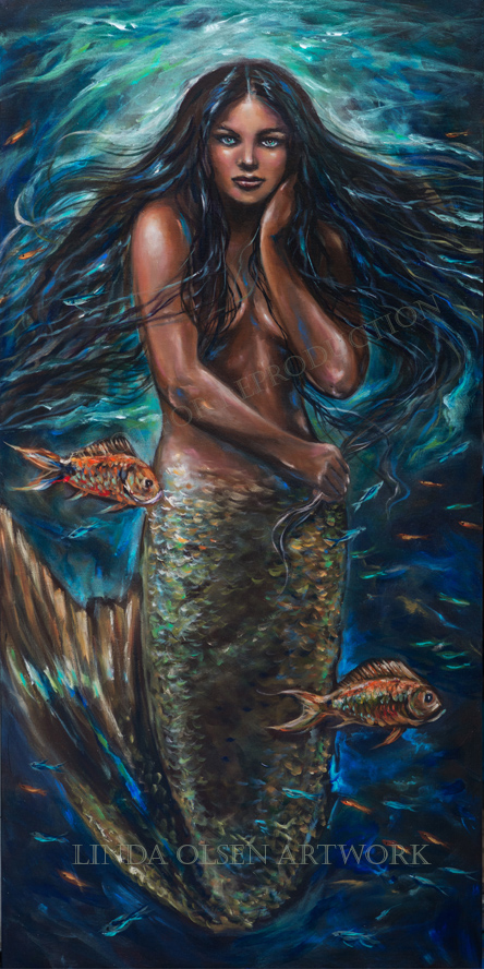 """Lailani"" is 24x48"" gallery wrap acrylic painting that I just completed. My intent to have a darker complexion worked well with starting out with raw umber gesso and working from dark to light. Prints are available soon as is the original. Overall this mermaid is a darker painting than my usually mermaid fantasy paintings and I thought that she dwells deeper in the ocean where it would be darker. She is holding her long hair as fish swim all around her. Hope you enjoy the progression shots."