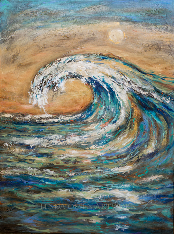 "This is the first surf painting of the set, 30x40"" gallery wrap, called ""Surf is Up"". I first put the plaster texture on the canvas, colored gesso next, then started with the underpainting with large brushes. I added metallics and more thick paint textures, glazes and finally some varnishes."