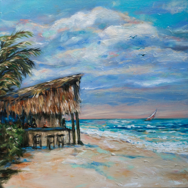 My husband and I went to Jamaica with 8 friends in March of this year. I wanted to paint when I returned but life became full and I didn't get to paint much. ONe of our favorite places to hang during our twelve day relaxation, was Tony's Bar on the long whited sanded beach. The barmaid was this lovely Jamaican gal that wore a tiara and was called Princess Grace Anne. how perfect to listen to reggae, play games with the bartender and dance on the white sand. This painting is 24x24.