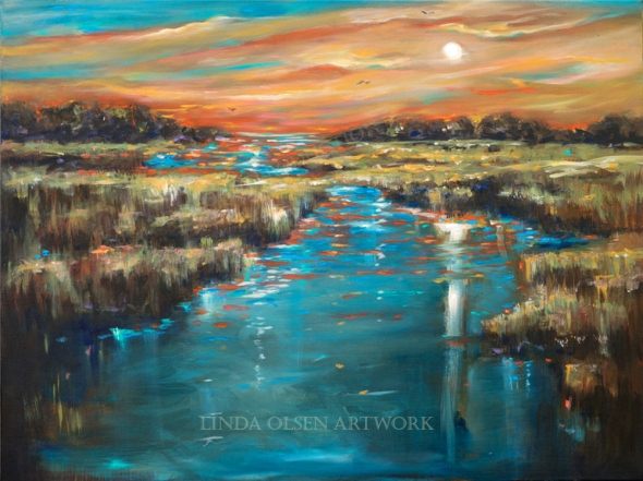 This 40x30 painting in Acrylic started as a daytime scene from inspiration of local marsh. I am enjoying a more painterly, expressionistic styling and using more energetic brushstrokes.