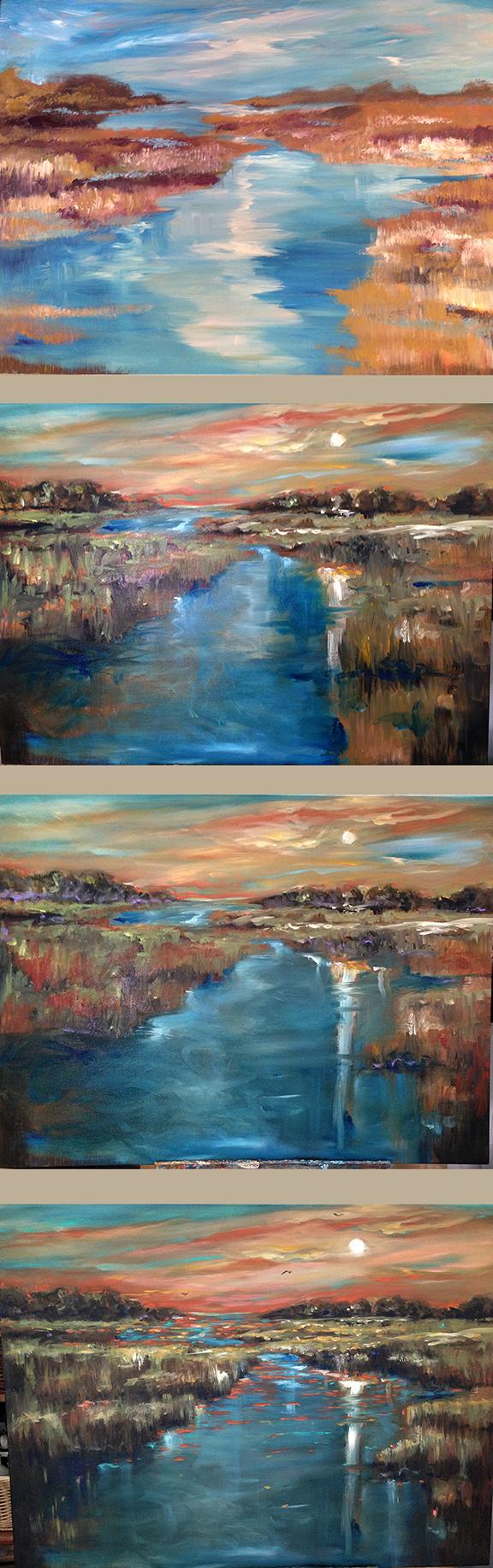 Waterway sunset progression
