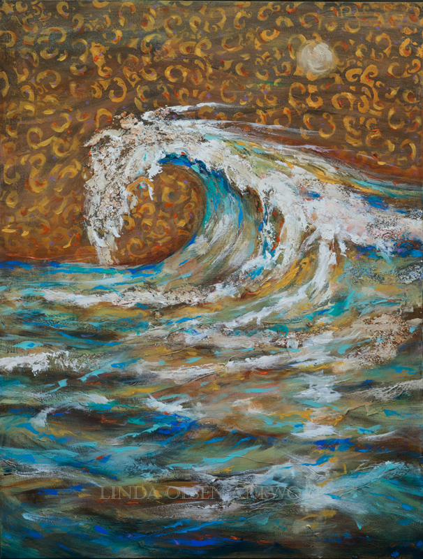 "This was the second painting after I completed the first similar one called ""Surf is Up"". Both are 30x40 thin gallery wraps and have multiple layers of gesso, texture plasters, antique glaze, stenciling, and varnishes. Sometimes I do two similar work so I can go further with an idea. AS an artist, the question of AM I DONE??? is ever present...but when you work on two canvases, you can do the first with the original idea and then on the second, go further with additional inspirations and experimentations."