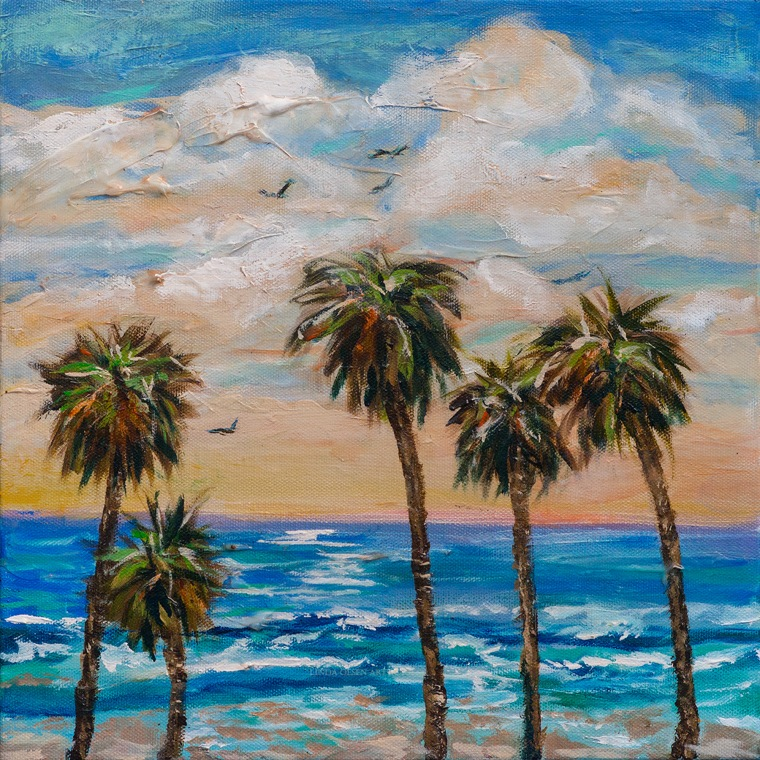Row of Palms and surf 14x14