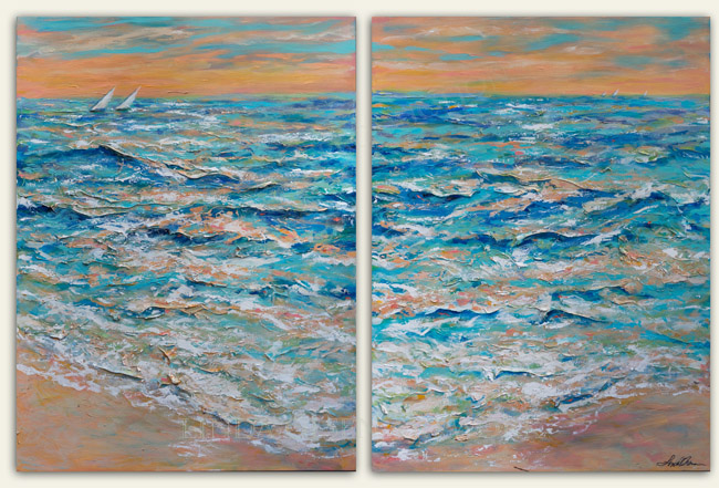 """Tide on the Beach is a two panel painting which total size of 60x40"""". Most of the process was done with palette knife. I originally started this last year but saw some areas that needed more details. I am now quite happy with this painting. Palette knife paintings have very interesting details."""