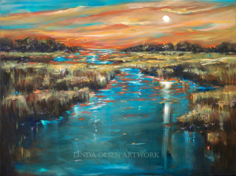 Waterway Sunset was blogged about a couple months ago but I had someone in another state interested in seeing it visualized on a wall. If you photograph your room nicely and send it to me, I can mock up the painting you are interested in to show scale and how it may look with your furniture.