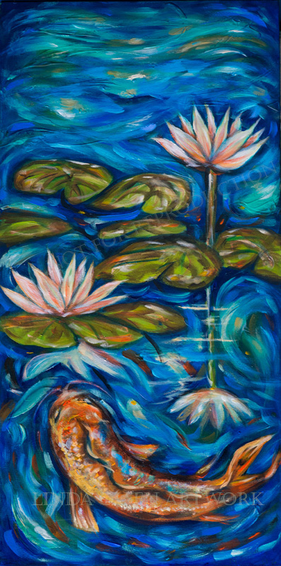 The two koi pond paintings with the lotus flowers are 15x30 thick gallery wraps and the swirling koi painting is  18x34. These make lovely accent pieces.