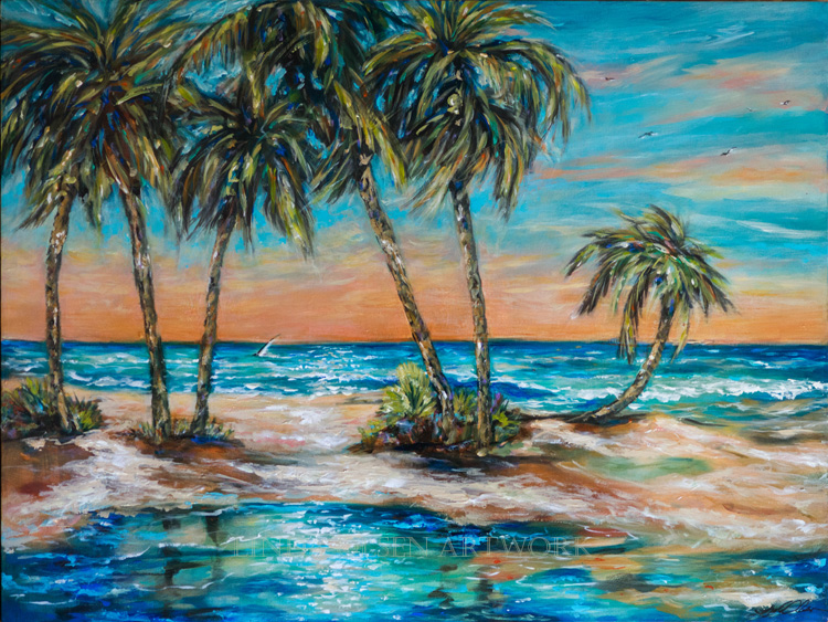 "Palms and tropical island paintings are a recurrent theme for me. ""Palm Lagoon"" is 40x30 and has a shiny coating as the final varnish. I used some metallic paint touches as well so there is a luminous effect when viewing in person. I hope to sell this next Saturday at a private one many show in Ponte Vedra."
