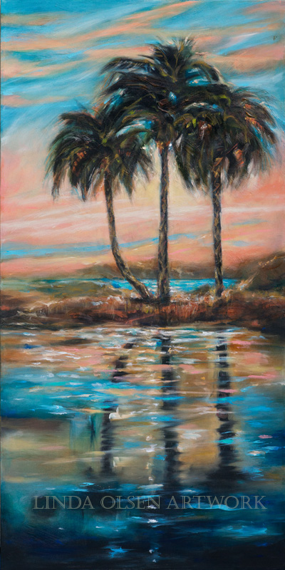 "A decade ago, I had done a series of southern landscapes that had water reflections and palms on the intracoastal river. They were all 24x48 and I sold half of them. This one called ""Palm Reflections V"" was revisited recently and I really like the added details. Its more subtle and interesting in my opinion."
