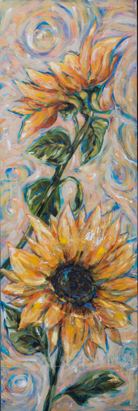"I have two sunflower paintings available for sale. One was painted in 2006 and is framed. ""Sunflowers and Apples"" and is 24x36 without the frame. The long thin one was just completed and is 15x45x2 gallery wrap. It is called ""Sunflower Sunshine"". It reminds me of my sweet sister in law in LaJolla, Lynn because she has fresh sunflowers every week on display in her living room."