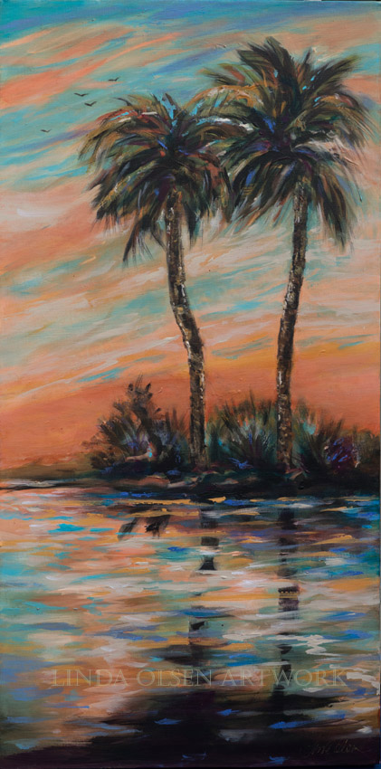 """Sunset Palms"" is 18x36 thick gallery wrap. I am obsessed with reflections and water and find that this southern landscape theme is a focus. I have similar paintings that are 24 x 48 but this one is smaller so works on smaller walls."