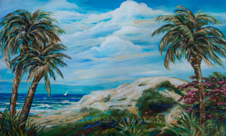 "Sometimes tropical landscapes are a theme I enjoy exploring this theme since I live on a peninsula island in Florida and have sailed and traveled in the Carribean and West Indies. The first one is called ""A Spendid Day"" and is 40x24x2"". The tropical island at sunset is 30x15x2 was done from a trip in the Florida Keys last November. The smaller palms is 16x20"" and is called ""Island Sail""."