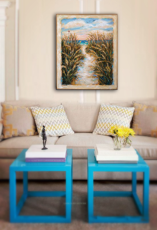"""Breezy Seaoats"" has been completed and for sale. I wanted to show a client how it may look with the scale of furniture. Asking prospective customers to send a photo of the wall that they were thinking of putting a new piece of art is a good idea so that they can visualize how it may look. I have done this many times for customers who are not local. It is difficult for most people to imagine what would look best so sometimes I take the photo and add other pieces of art to show them a variety. It is helpful to also know how large a piece of furniture is so that scale also plays a factor."