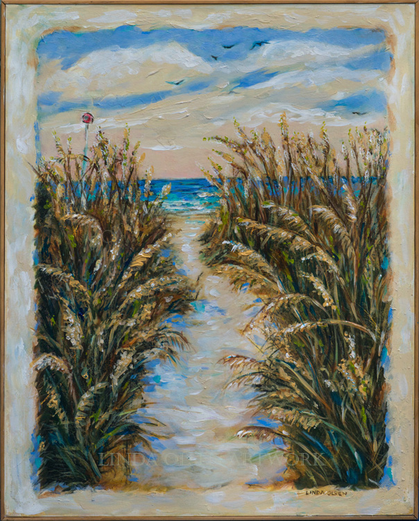 """Breezy Seaoats Path"" is 24x31"". A mixture of glazes and paints."